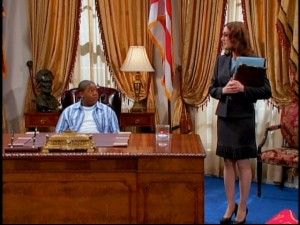 "Cory Baxter (Kyle Massey) is surprised to learn from assistant Samantha (Lisa Arch) that he is now the President of the United States in ""Gone Wishin'."""