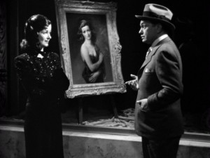 Professor Richard Wanley (Edward G. Robinson) is amazed to meet Alice Reed (Joan Bennett), the Woman in the Window in the film of the same name.