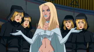 The intentions of sultry telepath Emma Frost remain in doubt as she commands the robed Stepford Cuckoos to do her bidding.
