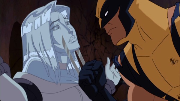 "With hand blades drawn, an angry Wolverine confronts a distressed diamond form Emma Frost near the conclusion of the three-part ""Wolverine and the X-Men"" series finale."