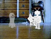 "An animated ghost and robot interact in The Deadly Syndrome's grainy ""I Hope I Become a Ghost"" music video."