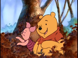 "Piglet and Pooh look for a turkey in the 1998 special ""A Winnie the Pooh Thanksgiving"", seen basically in full at the center of ""Seasons of Giving."""