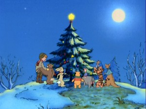 The entire Hundred Acre Wood gang, sans Gopher, gathers around the Christmas tree in the five minutes of original animation that actually deal with the marketed holiday.