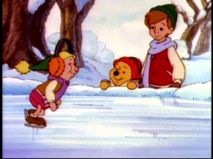 "Piglet proves himself a proficient ice skater, so long as he's wearing ""Magic Earmuffs."""