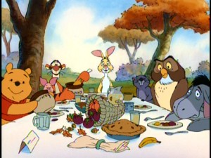 Pooh, Piglet, Tigger, Rabbit, Gopher, Owl, and Eeyore gather around the table for a traditional Thanksgiving feast.