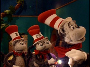 The Cat in the Hat teaches the Little Cats about the severe storm blackout fun that can be had with a flashlight and shadow hand puppets.