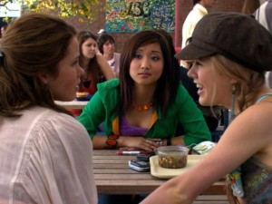 High school gossip between Wendy (Brenda Song) and her friends.
