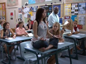 It's good to meditate before a test, but that's cutting it close, don't you think, Wendy?