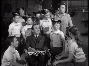 "Walt chills with the Mouseketeers (and Tommy Kirk) for a special anniversary ""Disneyland"" episode."