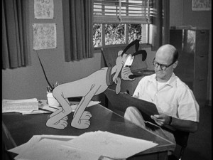 "In ""Where Do the Stories Come From?"", Pluto supervises an animator's portrayal of him."