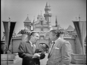 "Walt Disney and Art Linkletter appear in front of Sleeping Beauty Castle (before it was called that) at the start of the long-thought-lost television special ""Disneyland '59."""