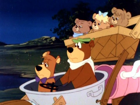 "On the run from Johnny Law... ain't no trip to Cleveland. Yogi Bear, Boo Boo, and three orphan cubs stumble upon what appears to be a haunted bayou in ""Yogi's Great Escape."""