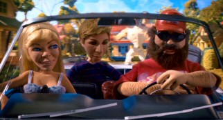 Creative renderings of Jean Smart, Michael Cera, and Zach Galifianakis are seen in the film's opening drive claymation.