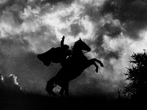 Zorro poses heroically as Tornado rears in this iconic shot from the opening title sequence.