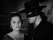 "Zorro comes face to face with Raquel (Suzanne Lloyd) and her Eagle allegiance in ""Zorro Lights a Fuse."""