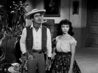 "Pre-""West Side Story"" Rita Moreno stands by her Cuchillo (Gilbert Roland) as waitress Chulita in the two hour-long ""Zorro"" anthology episodes presented as bonus features."