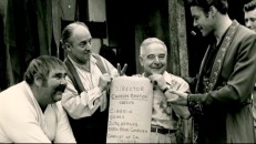 "Actors Henry Calvin, Gene Sheldon, and Guy Williams have fun with director Charles Barton in this behind-the-scenes photo from ""The Life and Legend of Zorro."""