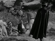 Zorro saves Corporal Reyes and Sergeant Garcia from a sticky situation but gives all sides a fighting chance.