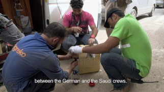 "German and Saudi crew members are seen working together in ""The Making of 'Wadjda.'"""