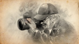 The bonus Blu-ray disc's menu gives us artistic renderings of behind-the-scenes action, like this lovely drawing of Steven Spielberg at work.