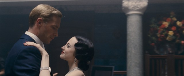 "Edward VIII (James D'Arcy), the future King of England, and Wallis Simpson (Andrea Riseborough), two-time American divorc�e, share a dance like the star-crossed lovers they are in Madonna's ""W./E."""