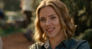 "Head zookeeper Kelly Foster (Scarlett Johansson) smiles at the way things turn out in ""We Bought a Zoo."""