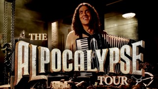 """Weird Al"" Yankovic strikes a demented pose for his Alpocalypse Tour title logo shot."