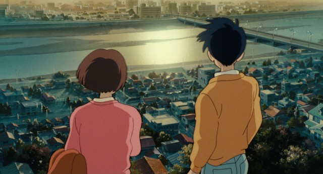 Shizuku and Seiji look out over a Tokyo sunrise in the film's abrupt and somewhat tacky conclusion.