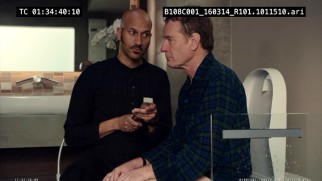 "Bryan Cranston struggles to get through his toilet scene with Keegan-Michael Key in both the gag reel and ""47 Minutes on the Can."""
