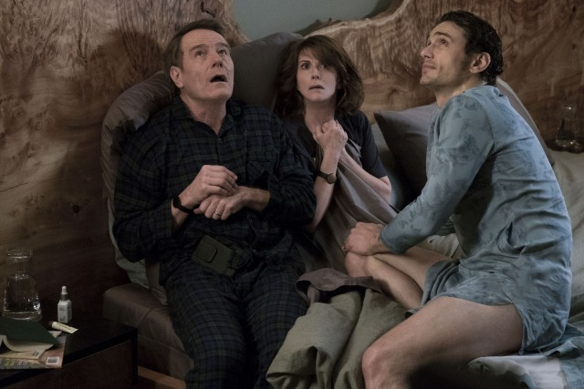 "The Fleming parents (Bryan Cranston and Megan Mullally) get to know their daughter's boyfriend (James Franco) in the comedy ""Why Him?"""