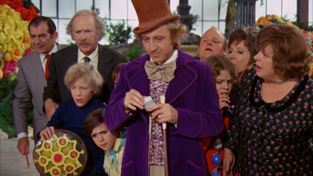 Willy Wonka (Gene Wilder) is not nearly as concerned as his guests by Augustus Gloop falling into his Chocolate River.