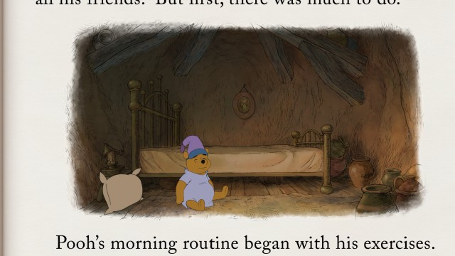 As usual, Winnie the Pooh's adventures are relayed as a sort of living storybook. Also as usual, the adventures involve Pooh's hunger-inducing exercises.