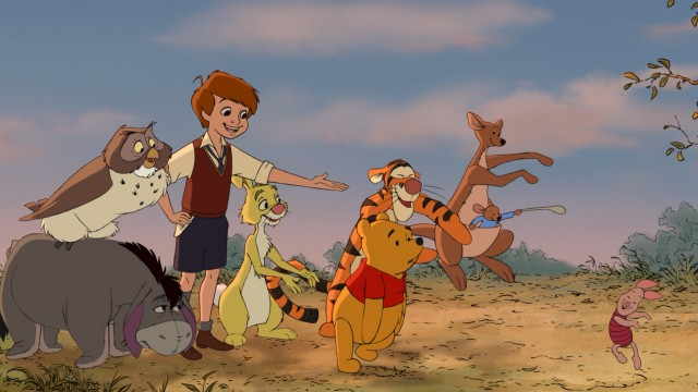 Hip-hip-Poohray! A happy ending is had for the entire Hundred Acre Wood gang: Eeyore, Owl, Christopher Robin, Rabbit, Tigger, Pooh, Kanga, Roo, and Piglet.