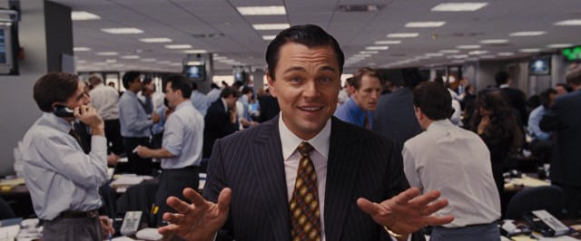 Jordan Belfort (Leonardo DiCaprio) occasionally addresses the viewer directly, attempting to explain the secrets (and illegality) of his success, but soon giving up.
