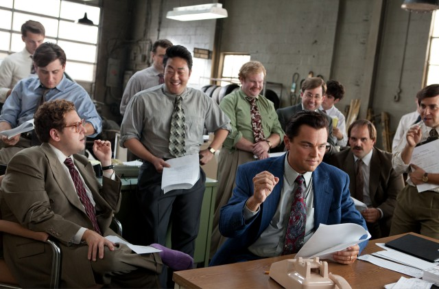 "In ""The Wolf of Wall Street"", Jordan Belfort (Leonardo DiCaprio) opens an investing company with inexperienced working class types."