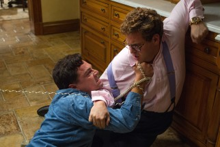 While under the influence of extra potent Quaaludes, Jordan Belfort (Leonardo DiCaprio) confronts his second in command, Donnie Azoff (Jonah Hill).