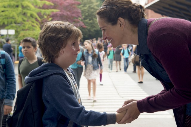 "After home schooling him for years, Isabel Pullman (Julia Roberts) brings her facially deformed son Auggie (Jacob Tremblay) to the fifth grade in ""Wonder."""