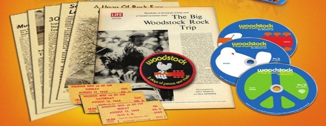 A look at the iron-on patch, article reprints, and ticket replicas included alongside the three Blu-ray Discs of Woodstock: 40th Anniversary Revisited.