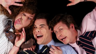 The Workaholics Blu-ray menu offers many mature smushed face pictures of the guys like this one.