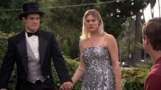 Adam (Adam DeVine) asks homeless woman Rachel (Katee Sackhoff) to be his date at Karl's classy wedding.