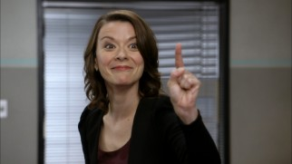 Maribeth Monroe tries not to crack up in the outtakes reel.