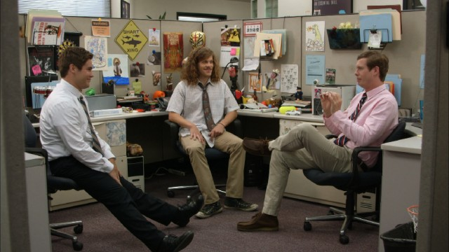 The Workaholics (Adam DeVine, Blake Anderson, and Anders Holm) rarely work in the cubicle they share at TelAmeriCorp.