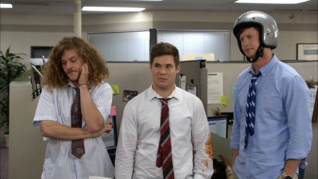 The Workaholics (Blake Anderson, Adam DeVine, Anders Holm) bear the evidence of another work-skipping misadventure.