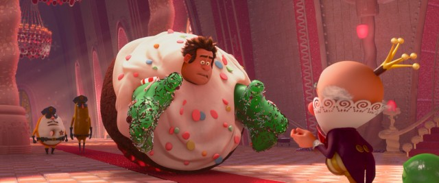 Caught in a cupcake, Wreck-It Ralph gets an audience with King Candy.