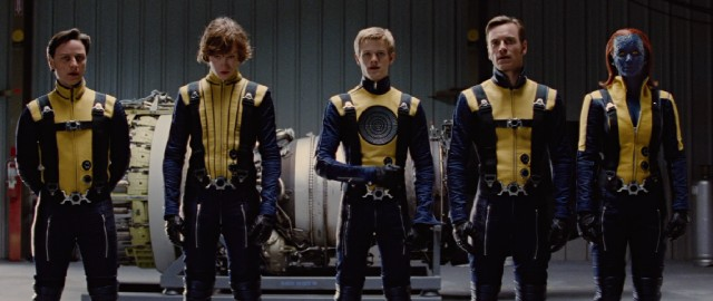 "The X-Men -- Professor X (James McAvoy), Banshee (Caleb Landry Jones), Havok (Lucas Till), Magneto (Michael Fassbender), and Mystique (Jennifer Lawrence) --  suit up for the first time in preparation for the Cuban beach climax of #33, ""X-Men: First Class."""