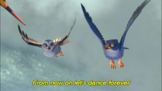 "The DVD version of the ""Come and Fly with Me"" music video uses yellow subtitles to enable children to sing along with the great Jewels Jaselle and Benj Heard."