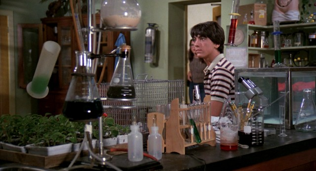 "In ""Zapped!"", science nerd Barney Springboro (Scott Baio) develops telekinetic powers, which he uses here to make lab items float."