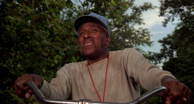 Scatman Crothers takes a bike ride with Albert Einstein in the movie's pot-fueled fantasy sequence.