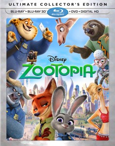Zootopia: Blu-ray 3D + Blu-ray + DVD + Digital HD combo pack cover art